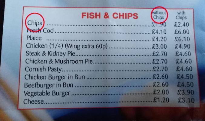 Des frites sans frites pour 1,90£, la spécialité du chef pour arnaquer les touristes à la con.