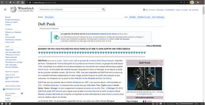 Les fans de Daft Punk pleurent déjà sur wikipédia