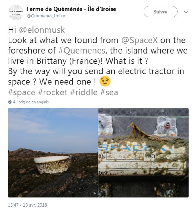 Un cône de nez d'un vaisseau Dragon de SpaceX retrouvé en Bretagne! https://twitter.com/Quemenes_Iroise/status/984775154369785857