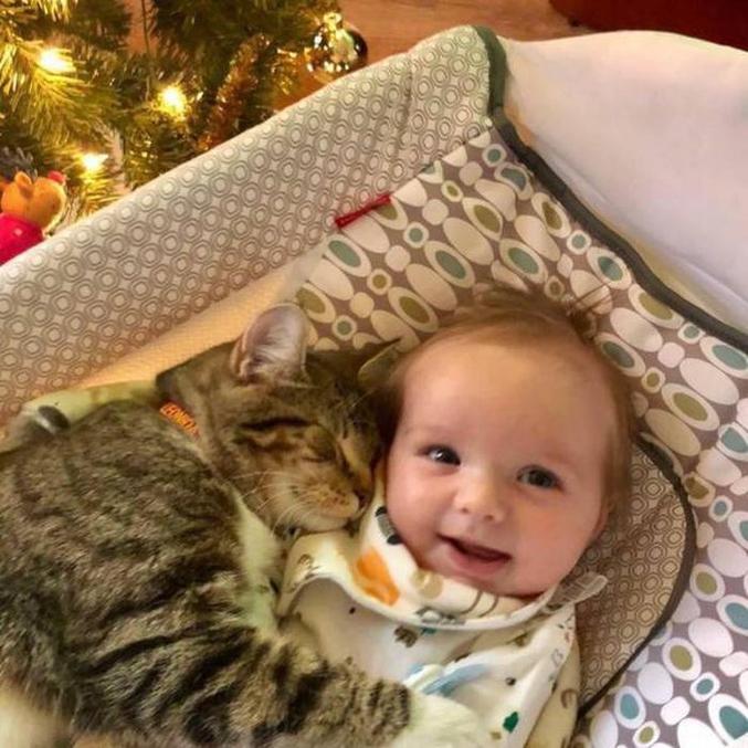 Un bébé et un chat trop mignons.  :3