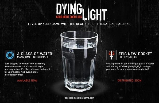 Pour la petite histoire, Activision a récemment mis en place un partenariat avec Redbull nommé Redbull Quest : - Une boisson achetée = un code pour du boost d'XP sur Destiny (http://quest.redbull.com/us/en) Le studio Techland a eu la riche idée de faire pareil avec Dying Light...
