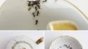 Vaisselle ancienne en porcelaine peinte à la main