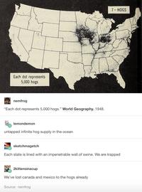 Répartition des porcs aux USA en 1948