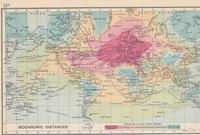 Carte des distances isochrones depuis Londres (1914)