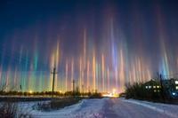 Piliers de lumière en Russie