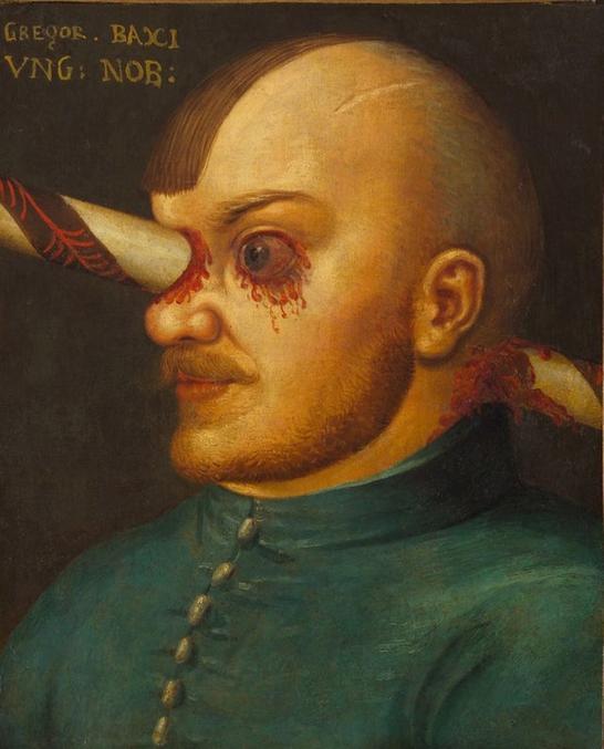 Un noble Hongrois qui, lors d'une bataille ou d'un tournoi, s'est retrouvé avec une lance plantée en pleine tête. Il y a survécu pendant une année après la blessure, ce qui a permis de faire ce portrait qui a terminé dans la collection personnelle de l'Archiduc Ferdinand II. Il est actuellement visible au château d'Ambras, dans le Tyrol.