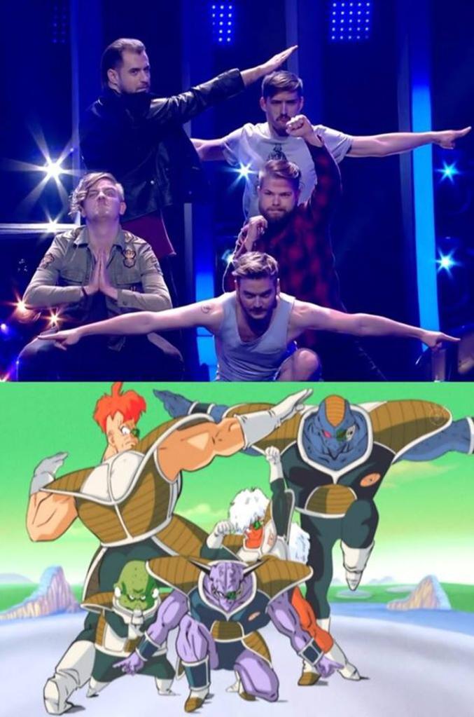 Pose du groupe représentant la Hongrie à l'Eurovision 2018 un peu inspirée. La chanson pour les curieux https://www.youtube.com/watch?v=w00c8KbQIME