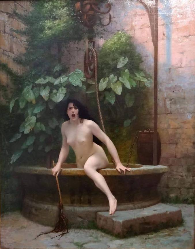 """Selon une légende du 19e siècle la Vérité et le Mensonge se sont rencontrés un jour. Le Mensonge dit à la Vérité : """" Il fait très beau aujourd'hui""""  La Vérité regarde autour d'elle et lève les yeux au ciel, le jour était vraiment beau. Ils passent beaucoup de temps ensemble jusqu'au moment d'arriver devant un puits. Le Mensonge dit à la Vérité :  """"L'eau est très agréable, prenons un bain ensemble !"""" La Vérité encore une fois méfiante touche l'eau, elle était vraiment agréable. Ils se déshabillent et se mettent à se baigner.  D'un coup, le Mensonge sort de l'eau, met les habits de la Vérité et s'enfuit. La Vérité furieuse sort du puits et court partout afin de trouver le Mensonge et de récupérer ses habits. Le Monde en voyant la Vérité toute nue tourne le regard avec mépris et rage.  La pauvre Vérité retourne au puits et y disparait à jamais en cachant sa honte.  Depuis, le Mensonge voyage partout dans le monde habillé comme la Vérité, en satisfaisant les besoins de la société, et le Monde ne veut dans aucun cas voir la Vérité nue.  Tableau : """"La Vérité sortant du puits"""" Jean-Léon Gérôme, 1896."""