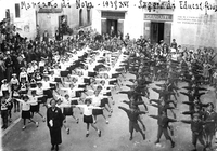 Manifestation gymnique de l'oeuvre Balila (=jeunesses fascistes italiennes) en 1938