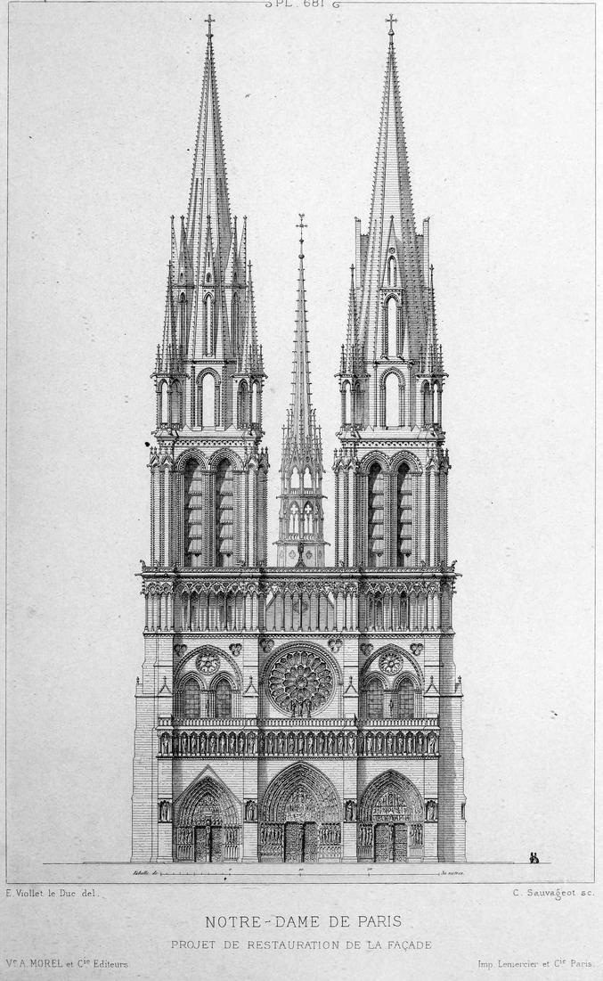 """Autant y aller à fond, non ?  Ceci fit partie des """"restaurations"""" envisagées par Eugène Viollet-le-Duc en 1841 pour Notre-Dame de Paris."""