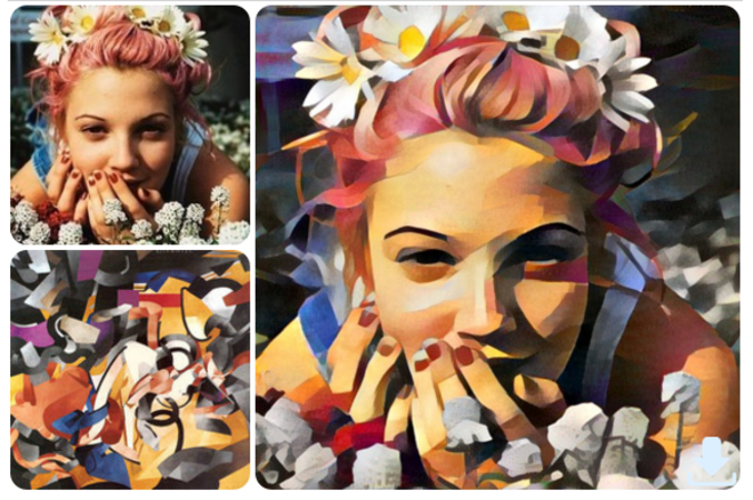 Le concept: Utiliser deux images, l'une pour le style et l'autre pour le sujet, les mixer dans un réseau de neurone profond, faire un rendu super long et obtenir une oeuvre d'art crée par un ordinateur. Si vous trouvez cela sympa, je vous invite à visiter leur page facebook: https://www.facebook.com/ostagram (en russe, mais c'est des images hein).
