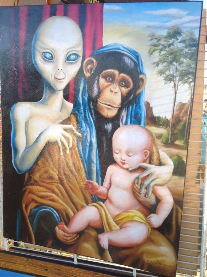 La théorie de l'hybridation entre une source extraterrestre et un primate. Darwin va encore se retourner dans sa tombe.