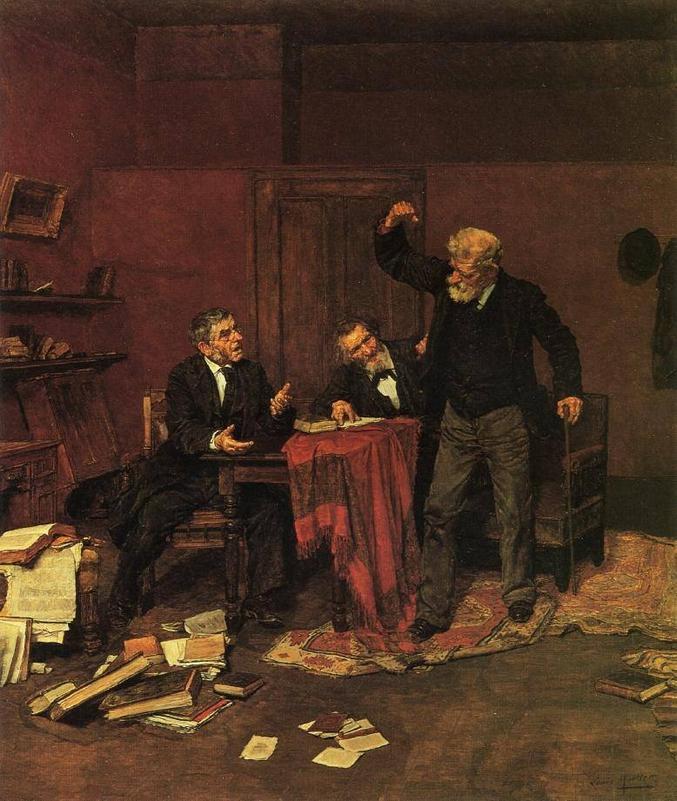 On reconnait aisément Alix, Mylo et Phil (tableau de Louis Moeller 1855-1930)
