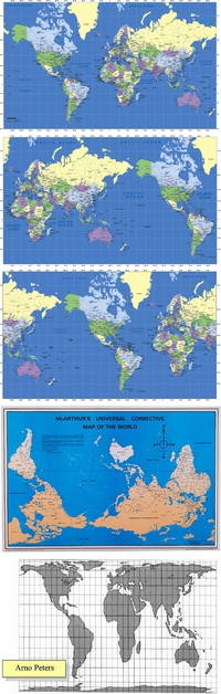 Planisphères utilisés dans les livres de géo en fonction de ton pays de résidence