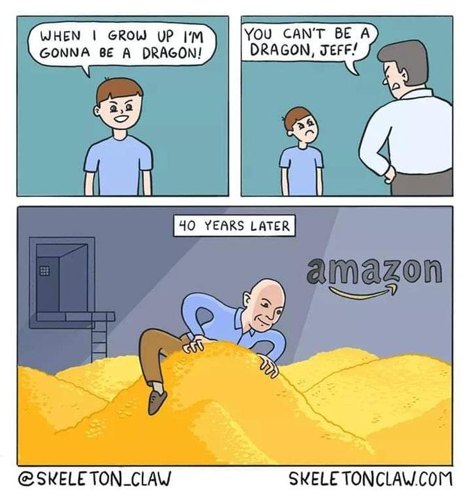 - Tu ne peux pas devenir un dragon, Jeff !  40 ans plus tard...  Par skeletonclaw.com  Carotte : Jeff Bezos est le patron d'Amazon.