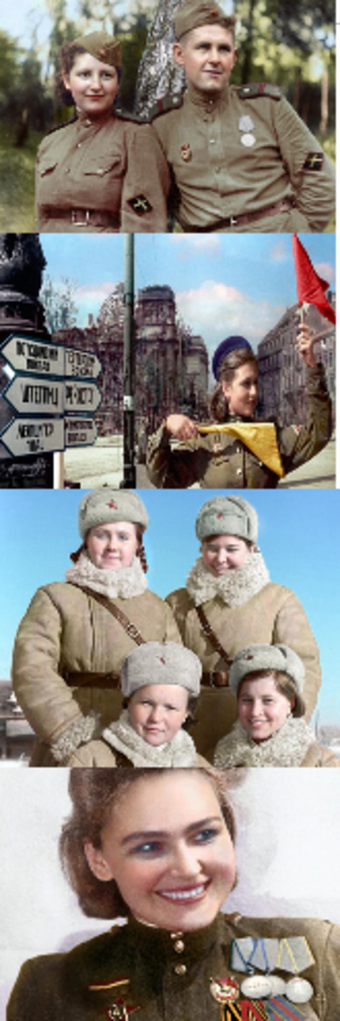 T.A.C. : Total Abruti Consanguin. Jeunes bonasses soviétiques de la seconde guerre mondiale chaudes de l'idéologie près de chez toi !!!  (source : propagande poutinienne je suppose : https://fr.rbth.com/multimedia/pictures/2016/05/06/les-heros-de-la-seconde-guerre-mondiale-en-couleur_590953)