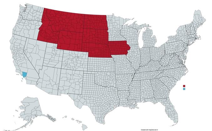 Il y a autant d'habitants dans le seul district bleu (Los Angeles) que dans l'ensemble des rouges. Bon, en gros, là haut y'a personne : c'est par là qu'ils ont tourné Danse avec les Loups, par exemple.