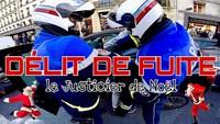 Une voiture fauche un piéton et fait un délit de fuite, un motard s'engage dans une course poursuite, déguisé en père Noël