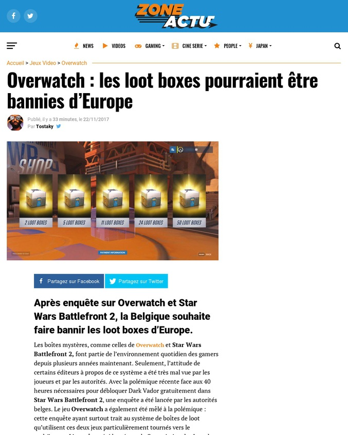 """Bonjour, après enquête sur Overwatch et Star Wars Battlefront 2, la Belgique souhaite faire bannir les loot boxes d'Europe : """"Nous allons clairement essayer de les faire bannir.""""."""