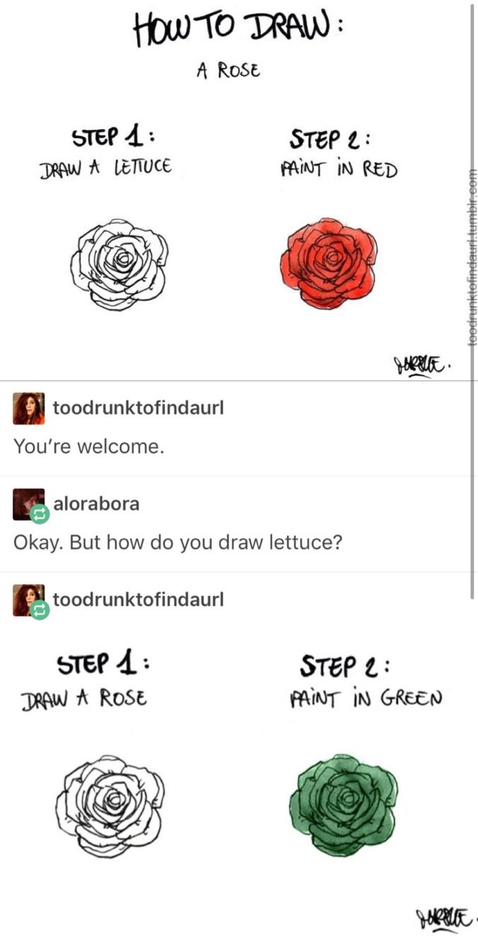 Puis une laitue.  - Comment dessiner une rose : dessinez une laitue, coloriez-la en rouge. - Merci, mais comment dessiné-je une laitue ? - Dessinez une rose, puis coloriez-la en vert.