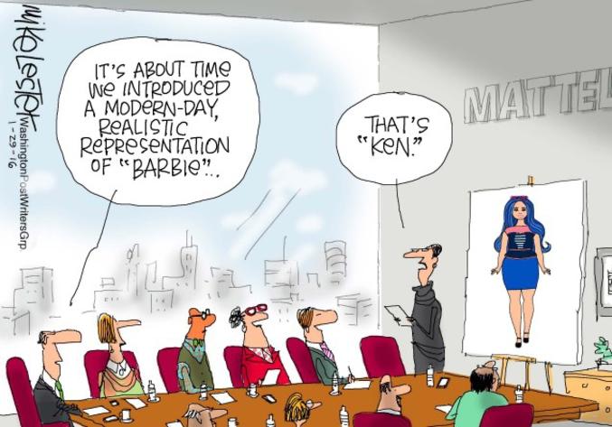- Il serait temps que l'on introduise une vision plus réaliste et moderne de Barbie. - Ça c'est Ken.  On le reconnaît à la couleur bleue qui persiste ! Y a encore des progrès à faire...