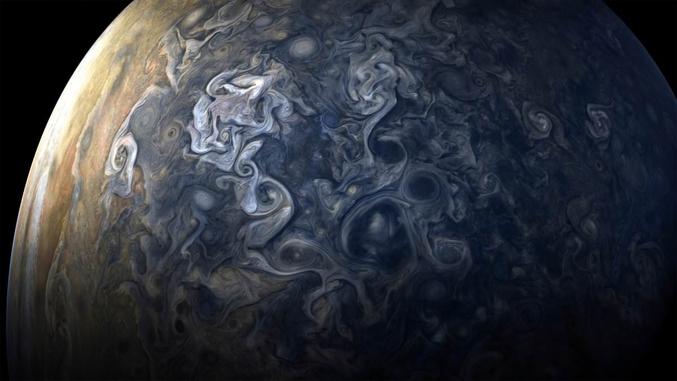 Une des photos du dernier survol de Jupiter par la sonde Juno le 24 octobre. Je sais pas vous, ça me fait penser à du Van Gogh.