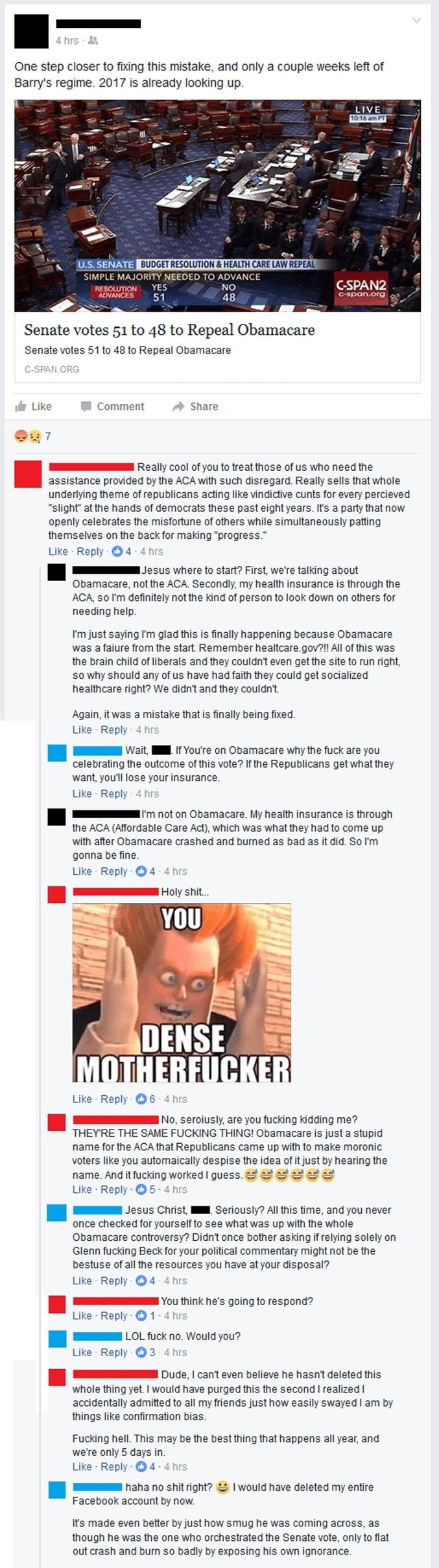 """Pour les non-anglophiles : > un gars célèbre l'annulation """"d'Obamacare"""" sur Facebook > on lui fait remarquer que c'est pas sympa pour ceux qui ont besoin de """"l'ACA"""" (Affordable Care Act) > il répond qu'il est sous l'ACA lui-même > on lui fait remarquer que l'ACA est le nom officiel de l'Obamacare > ** votre interlocuteur ne répond plus **  #voteAvecTesTripes"""