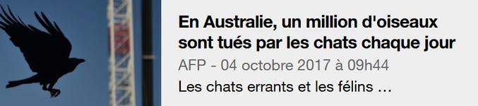 Le massacre a commencé. Bientôt ton tour, Thiche... P'titêtre ?  http://actu.orange.fr/societe/insolite/en-australie-un-million-d-oiseaux-sont-tues-par-les-chats-chaque-jour-CNT000000PubBK.html