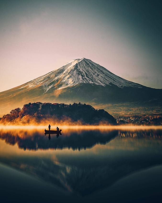 Depuis le lac Kawaguchiko, au Japon.
