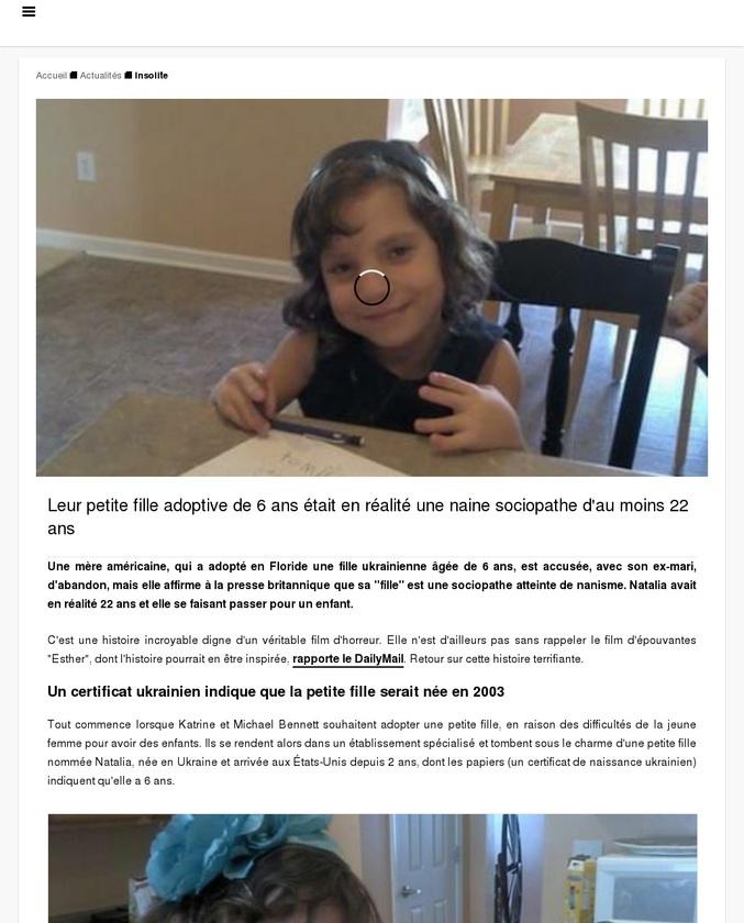 Leur petite fille adoptive de 6 ans était en réalité une naine sociopathe d'au moins 22 ans