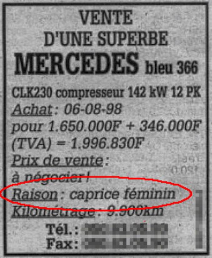 Apparement, sa femme n'a pas vraiment apprécié qu'il s'achète une belle voiture.