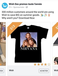T-shirt Nirvana sur Wish