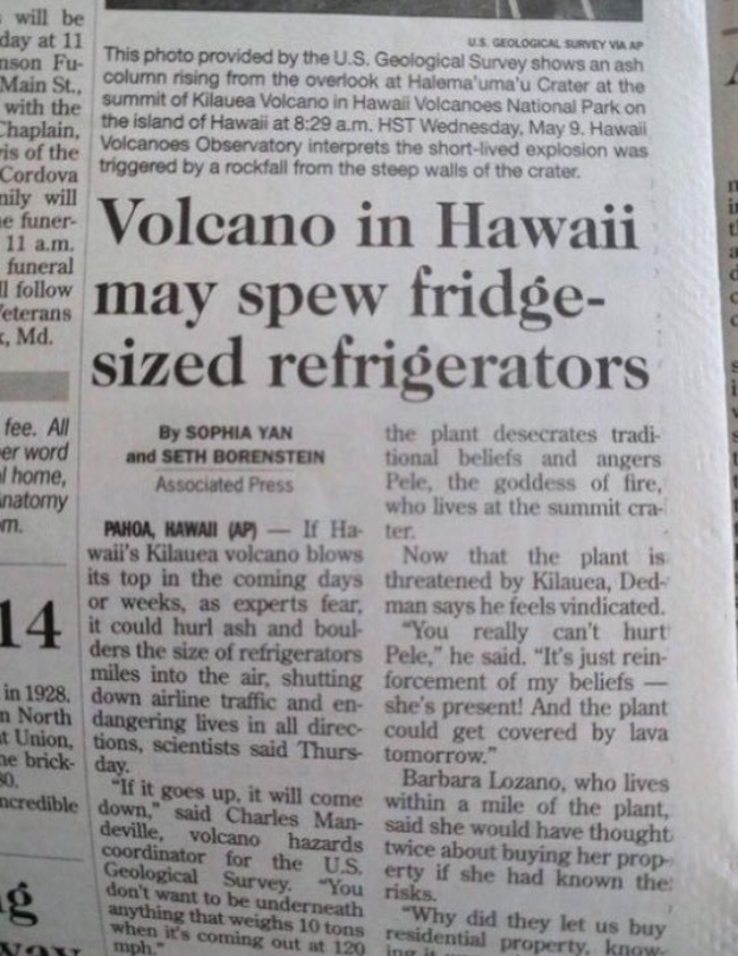 """""""Un volcan à Hawaï peurrait cracher des réfrigérateurs de la taille d'un frigo""""."""