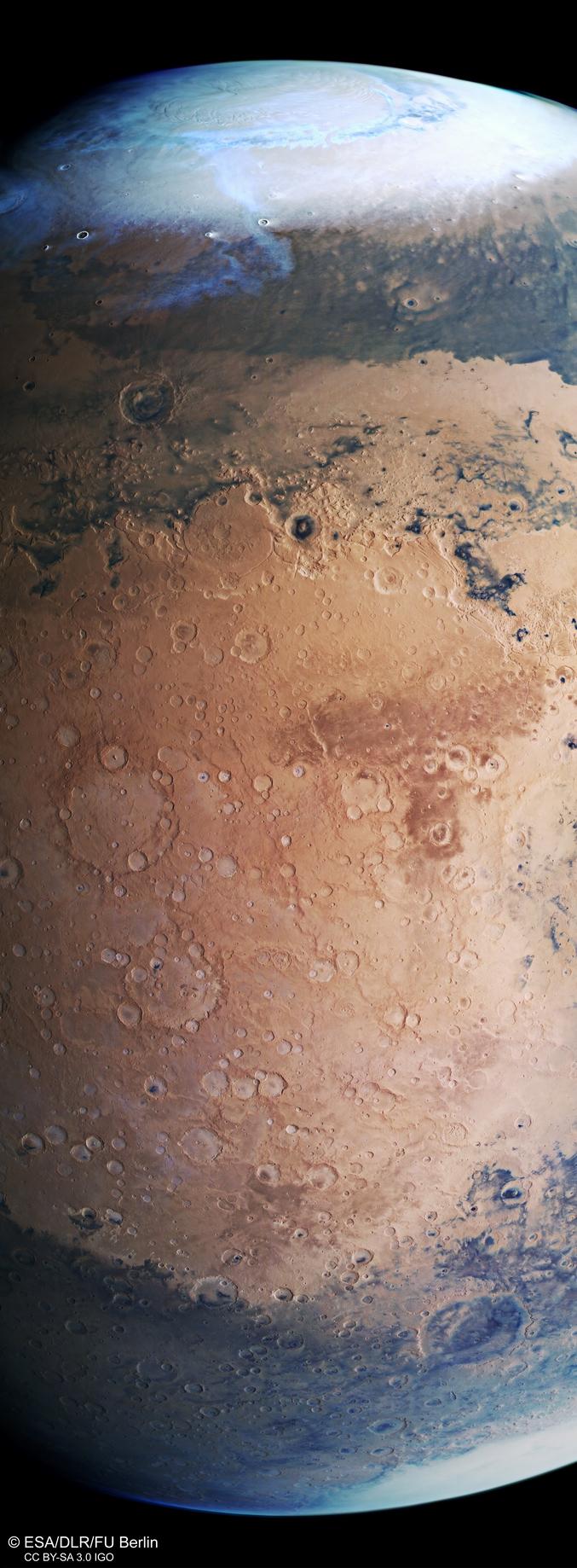 L'article par ici :http://www.esa.int/spaceinimages/Images/2019/09/Mars_Express_view_of_Terra_Sabaea_and_Arabia_Terra Une composition réalisée à partir de photos prises par la sonde Mars Express.