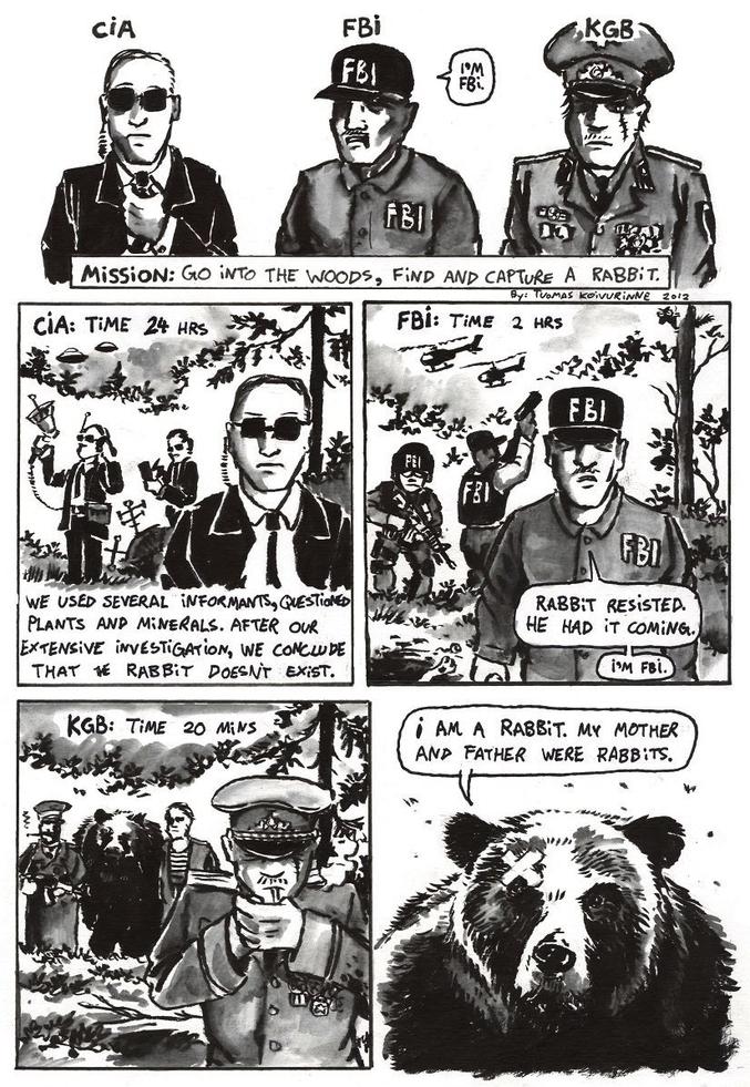"""Différences de méthodes : CIA : le lapin n'existe pas FBI : lapin abattu KGB : un """"lapin"""" en aveux"""