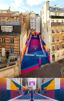 Quartier Pigalle (Paris) : un terrain de basket coloré