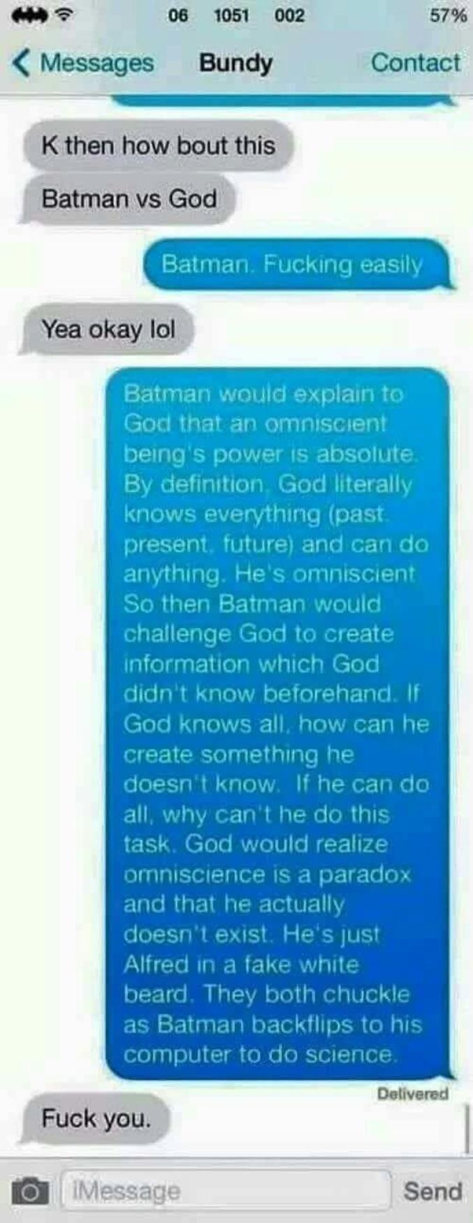 - Qui gagne entre Batman et ...  - Batman !