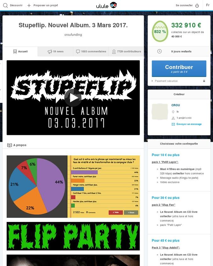 Le crou Stupeflip a lancé un financement participatif sur Ulule pour son nouvel album qui sortira le 3 mars 2017... l'objectif a été atteint en 2 heures et le projet est actuellement à 832% de son financement; un record pour de la musique parait-il.  Alors si toi aussi tu as un lapin qui sommeille en toi, que les argémiones t'énervent, que celui qui crie fort te manque, ou plus simplement si tu veux soutenir le meilleur groupe de musique de tous les temps (du futur simple également, si si), bah participe, y'a plein de contreparties vachement sympas.