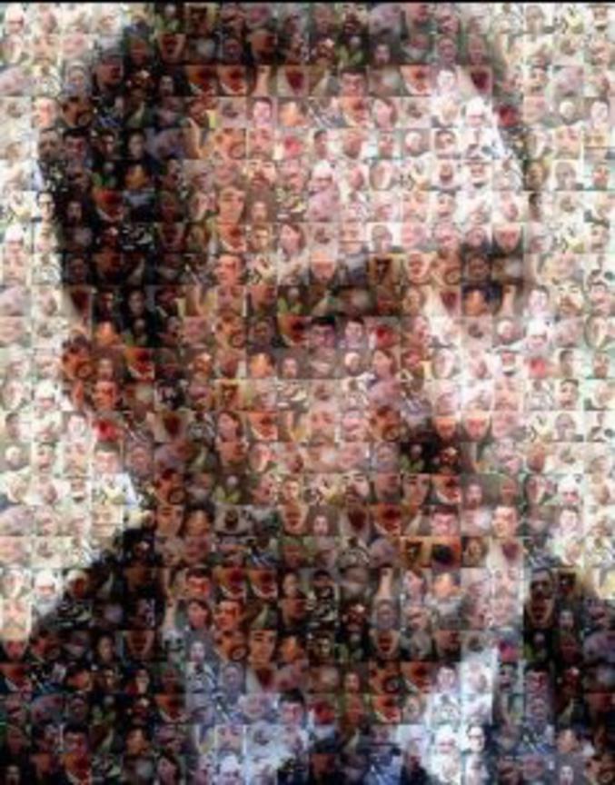"""... la haute résolution devrait bientôt suivre. Tristement.  """"Portrait de M. Castaner, ministre de l'Intérieur, réalisé à partir de photos de victimes des actes des forces de l'ordre depuis le 17 novembre 2018"""""""