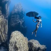 Sirène à l'ombrelle