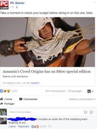 Assassin's Creed Origins a une édition spéciale à 800$
