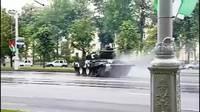Accident de char d'assaut dans une rue à Minsk