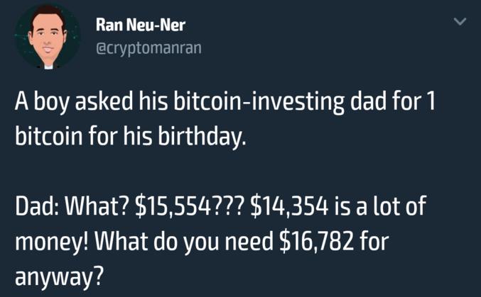 """Le père : """"Quoi ? 15,554$??? 14,354$ sont beaucoup d'argent! Pourquoi tu aurais besoin de 16,782$ de toute manière ?"""