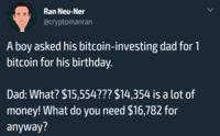 Un enfant demande 1 bitcoin pour son anniversaire