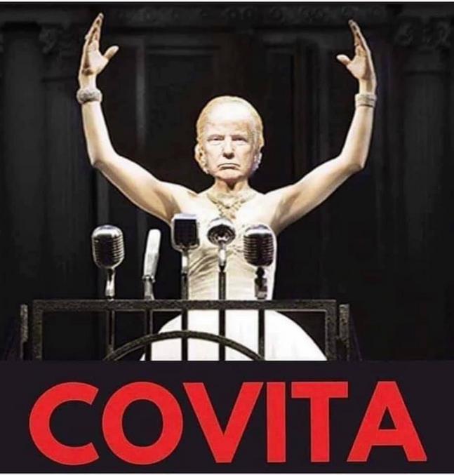Mise en scène quasi-hollywoodienne pour un retour de l'hosto. Allusion à la comédie musicale Evita.