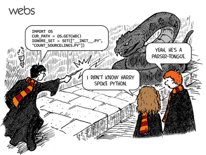 Parser = analyseur Parseltongue = fourchelangue en VO Python est un langage de programmation.