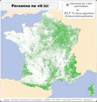 En vert, les carreaux de 1 km² non habités