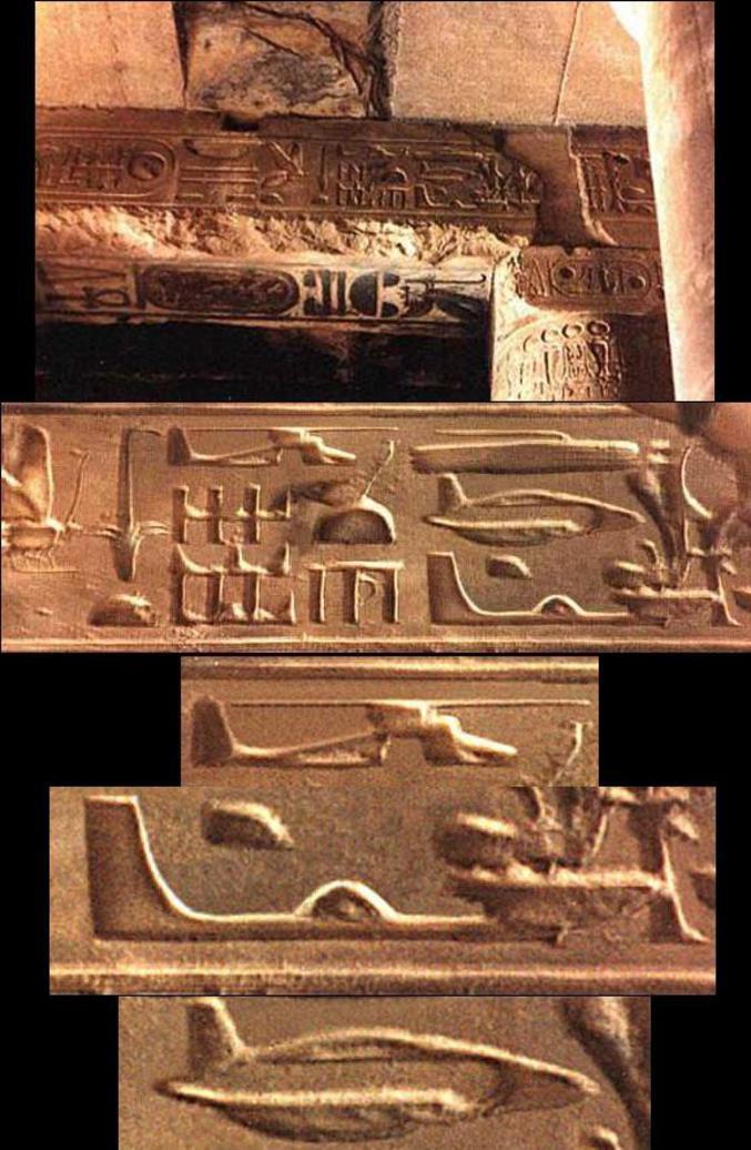 Des hiéroglyphes qui font penser à des appareils de notre époque.