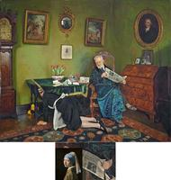"""""""She stoops to conqueer""""-1931-Peintre anglais Charles Spencelayh"""
