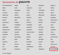 Synonymes de pauvre